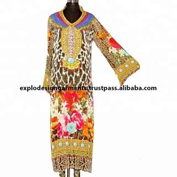 Latest Designer Digital Printed Embellishment Long Punjabi Suit
