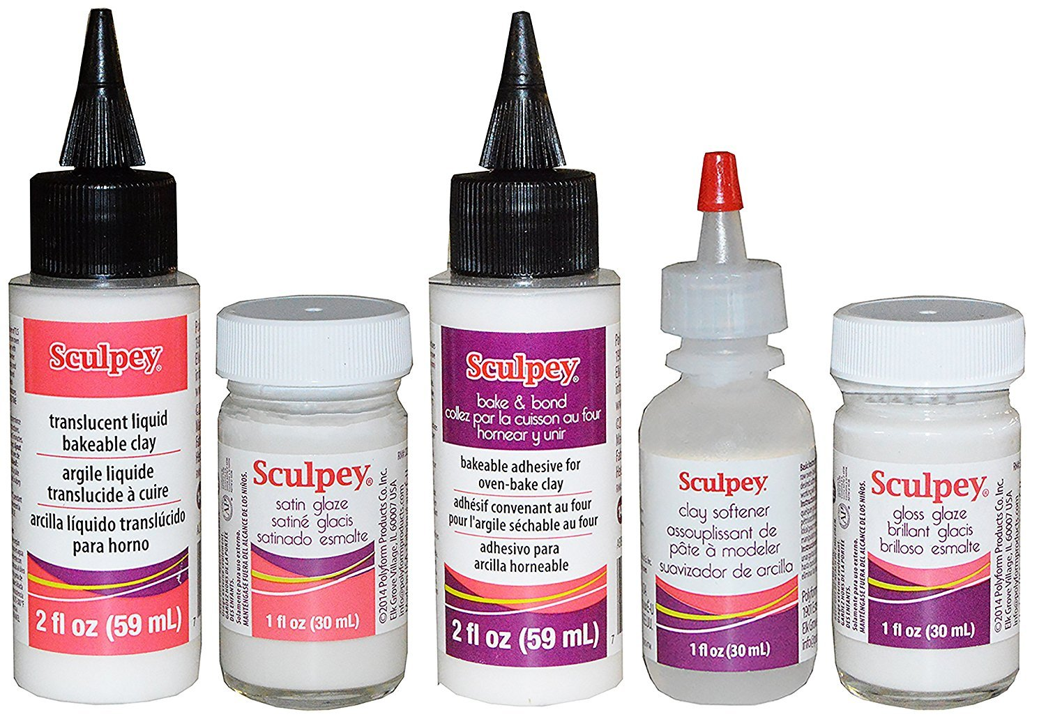 Sculpey Artist Set: 2-Ounce Translucent Liquid Bakeable Clay, 1-Ounce Satin Glaze, 2-Ounce Bake & Bond, 1-Ounce Clay Softener, 1-Ounce Gloss Glaze