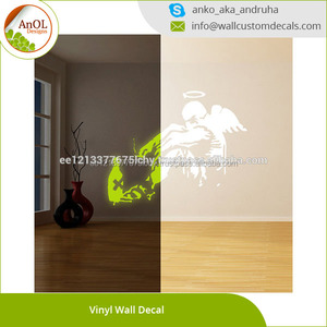 Glowing Vinyl Wall Decal Giant Fallen Angel with Rome Bottle / Glow Dark Graffiti Art Sticker / Luminescent Mural