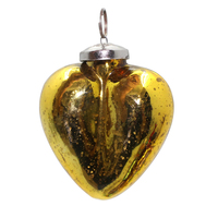 Iron Glass Antique Yellow Christmas Decorative Hanging Heart Tree Ornament