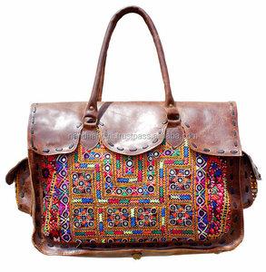 37dc9408091 Vintage Banjara tote bag Leather Suede Embroidery Handmade Bag Boho Chic  Tote Ethnic Tribal Gypsy Indian banjara bag