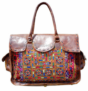 Vintage Banjara tote bag Leather Suede Embroidery Handmade Bag Boho Chic  Tote Ethnic Tribal Gypsy Indian b9a1544896eec