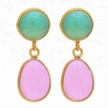ที่สวยงาม Opalite Rose Chalcedony Gold Plated Silver STUD Dangle ต่างหู