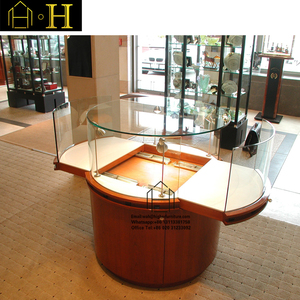 modern corner round portable glass rotating display cabinet