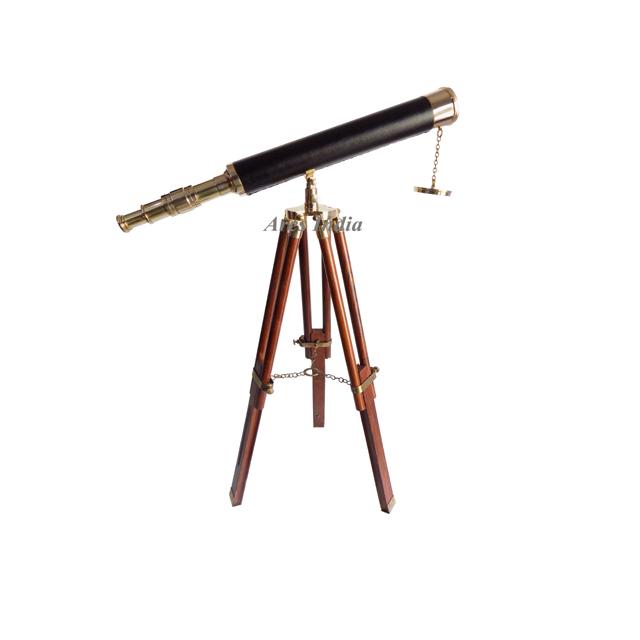 16 pulgadas de Marina Náutica Catalejo Telescopio de Latón de Cuero con Caja De Madera-Regalo Objetos antiguos