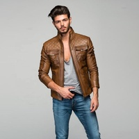 Men Turkish Leather Jacket First Class Lambskin Brown