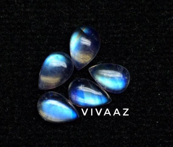100 Pieces 5x7 mm Pear Natural Rainbow Moonstone Cabochon Loose Gemstones