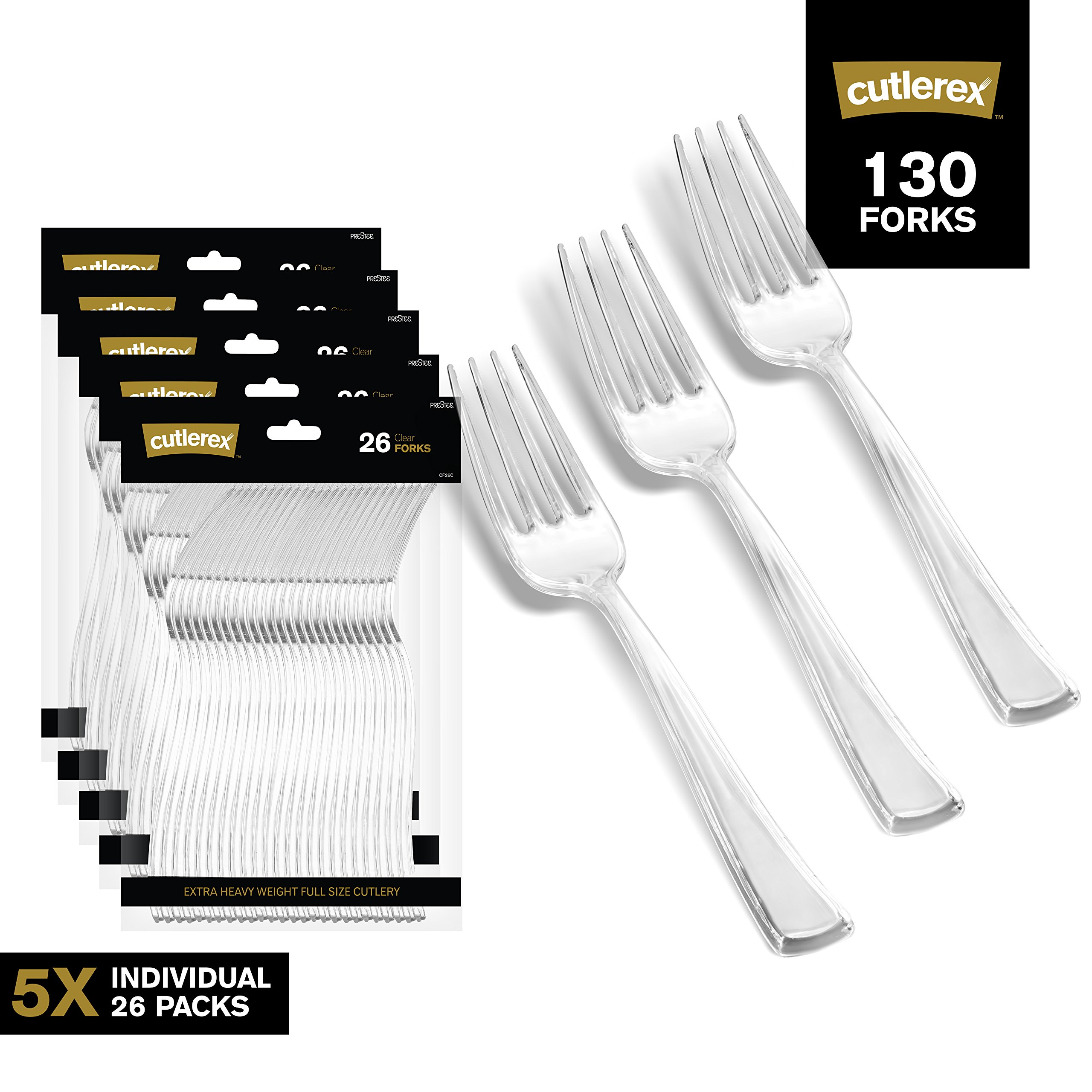 130 Clear Plastic Forks | Heavy Duty Plastic Silverware Forks | Fancy Plastic Cutlery | Elegant Disposable Forks Pack | Bulk Disposable Flatware | Plastic Utensils Set | Disposable Silverware Cutlery