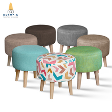 Factory Price Hot Quality Round Upholstered Ottoman Foot Stool/Fabric Cover Stool/Ottoman With Four Wood Legs