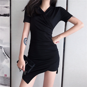2019 Wholesale New Design Women Short Sleeve Irregular Dress Ladies Fashion V-neck Short Dresses