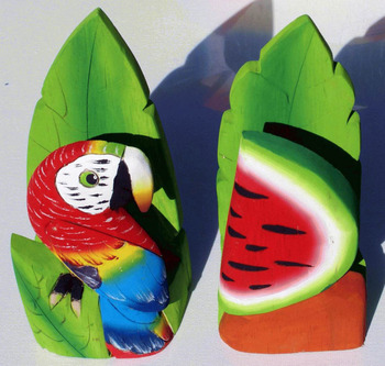 Napkin Holder Of Balsa Wood With Colored Parrot Birds Home Kitchen