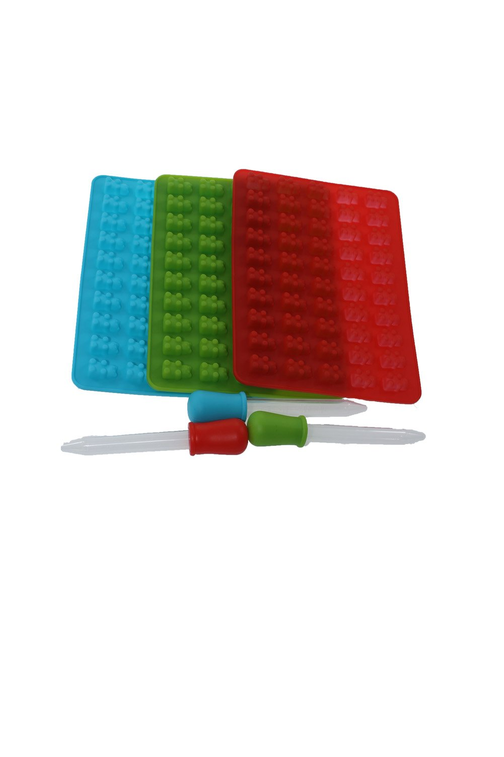 YIR Candy Silicone Molds & Ice Cube Trays,3 Pack Gummy Bear Molds 50 Cavities with Bonus Dropper, 100% FDA Approved, BPA Free (Red, Green, Blue)