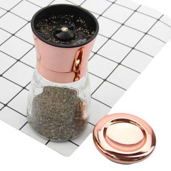 New Design Kitchen Accessories Copper Plating Stainless Steel Salt And Pepper Grinder with Rose Gold Lid