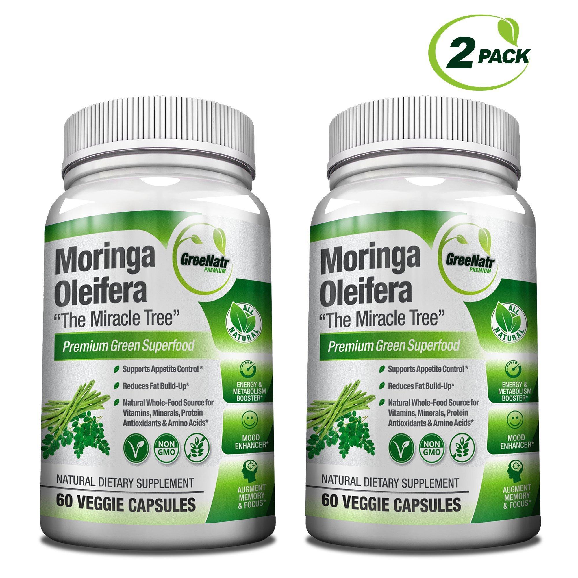 GreeNatr Moringa Oleifera Leaf Extract - Mood, Memory and Focus Enhancer - 120 Veggie Capsules / Gluten Free (2 Bottles)