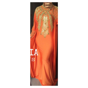GKC - Anastasia Orange Wholesale Moroccan Muslim Wedding Kaftan Dress from Indonesia