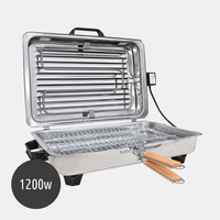 Electric Inox Barbeque Grill with lid 1200w - Contact Grill as a Toaster