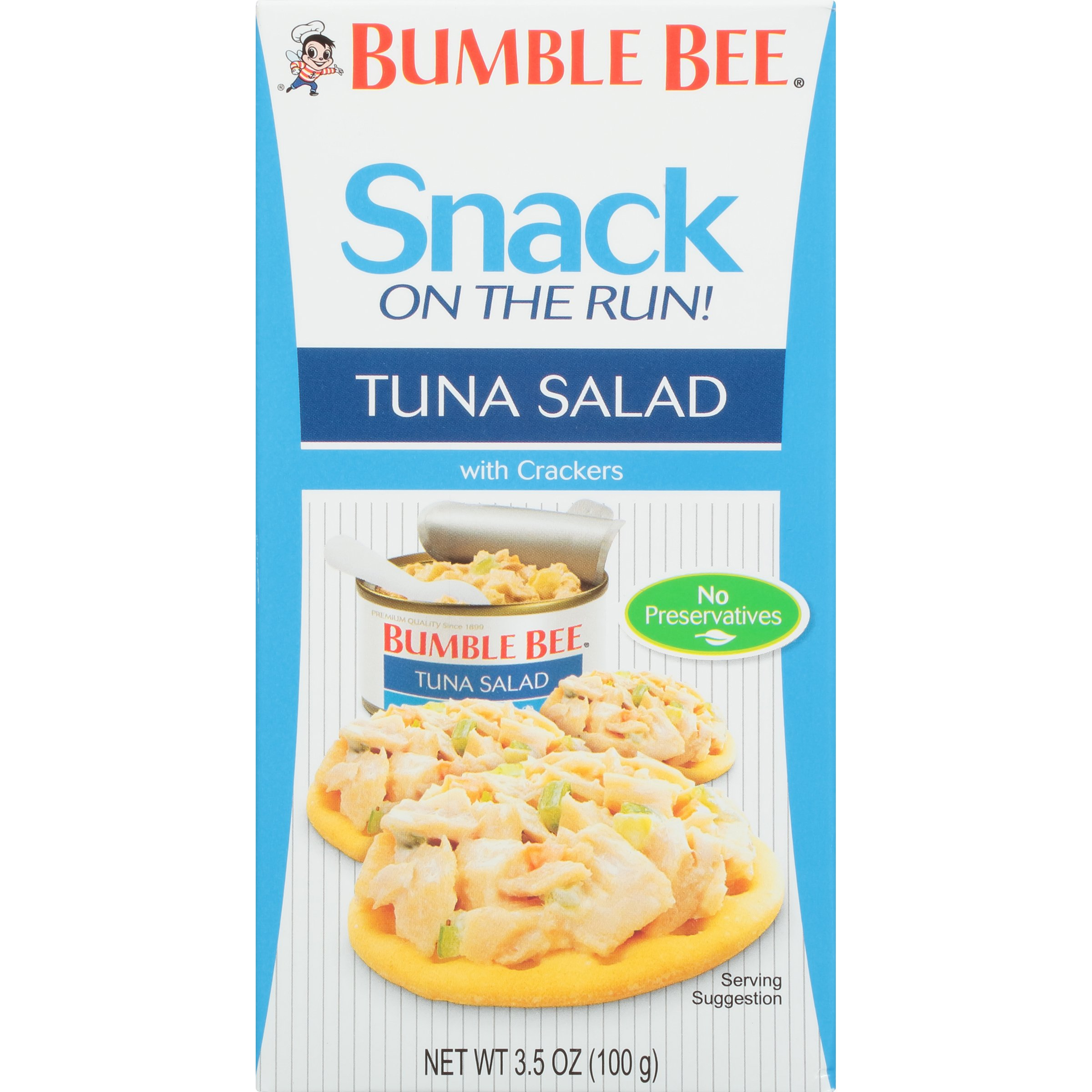 BUMBLE BEE Snack on the Run! Tuna Salad with Crackers Kit, Canned Tuna Fish, Good Source of Protein, 3.5oz