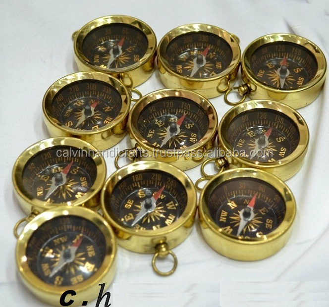 Brass compass keychain Compass key chain Marine Nautical Key ring Lot of 5 CHCOM198