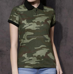 Women Green Camouflage Print Collar T Shirt