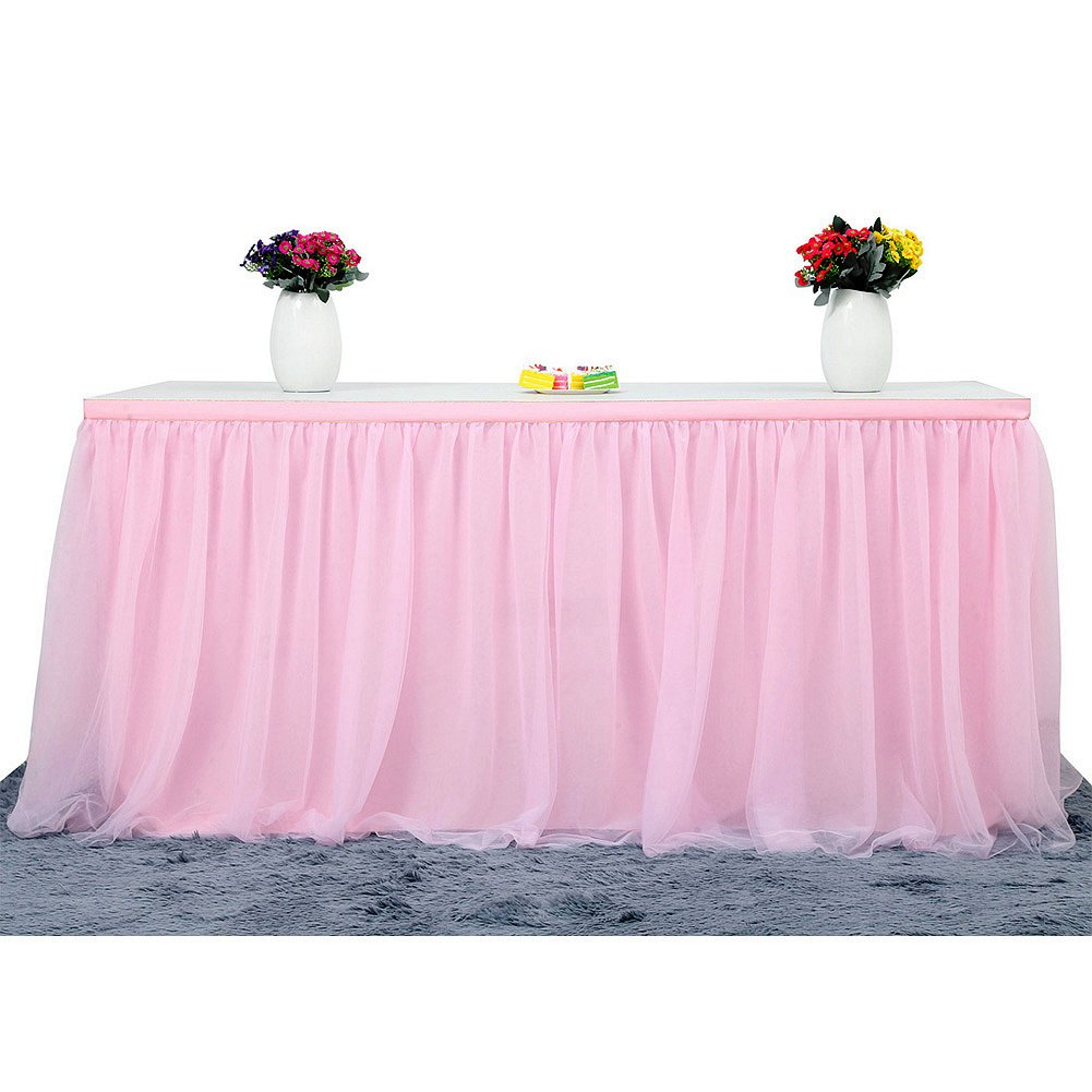 Table Skirt | 3 Yard Table Skirting, 4-layer Tulle and Chiffon Lining Table Cover for Wedding, Birthday, Baby Shower, Slumber Party, Girl Princess, Home Decoration, Party Supplies (Light Pink)