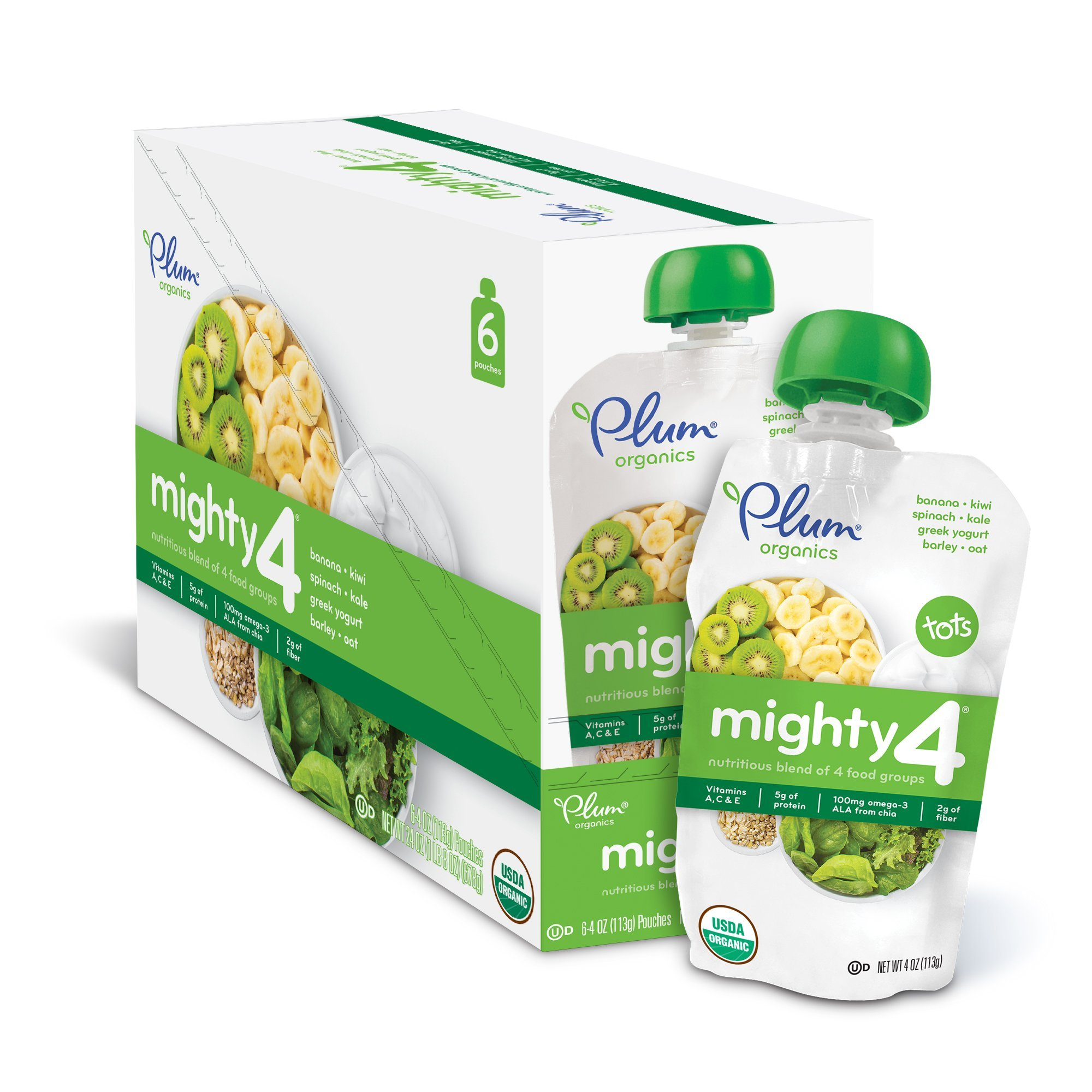 Plum Organics Mighty 4, Organic Toddler Food, Banana, Kiwi, Spinach, Kale, Greek Yogurt, Barley and Oat, 4 ounce pouch (Pack of 12)