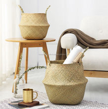 Colorful woven belly seagrass basket/foldable basket made in VietNam