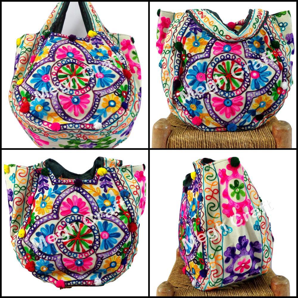 7548fd2144 Aari Mirror Work handbag- Embroidered Mirror Work Handbag- Hand Embroidered  Mirror Handbags - Banjara