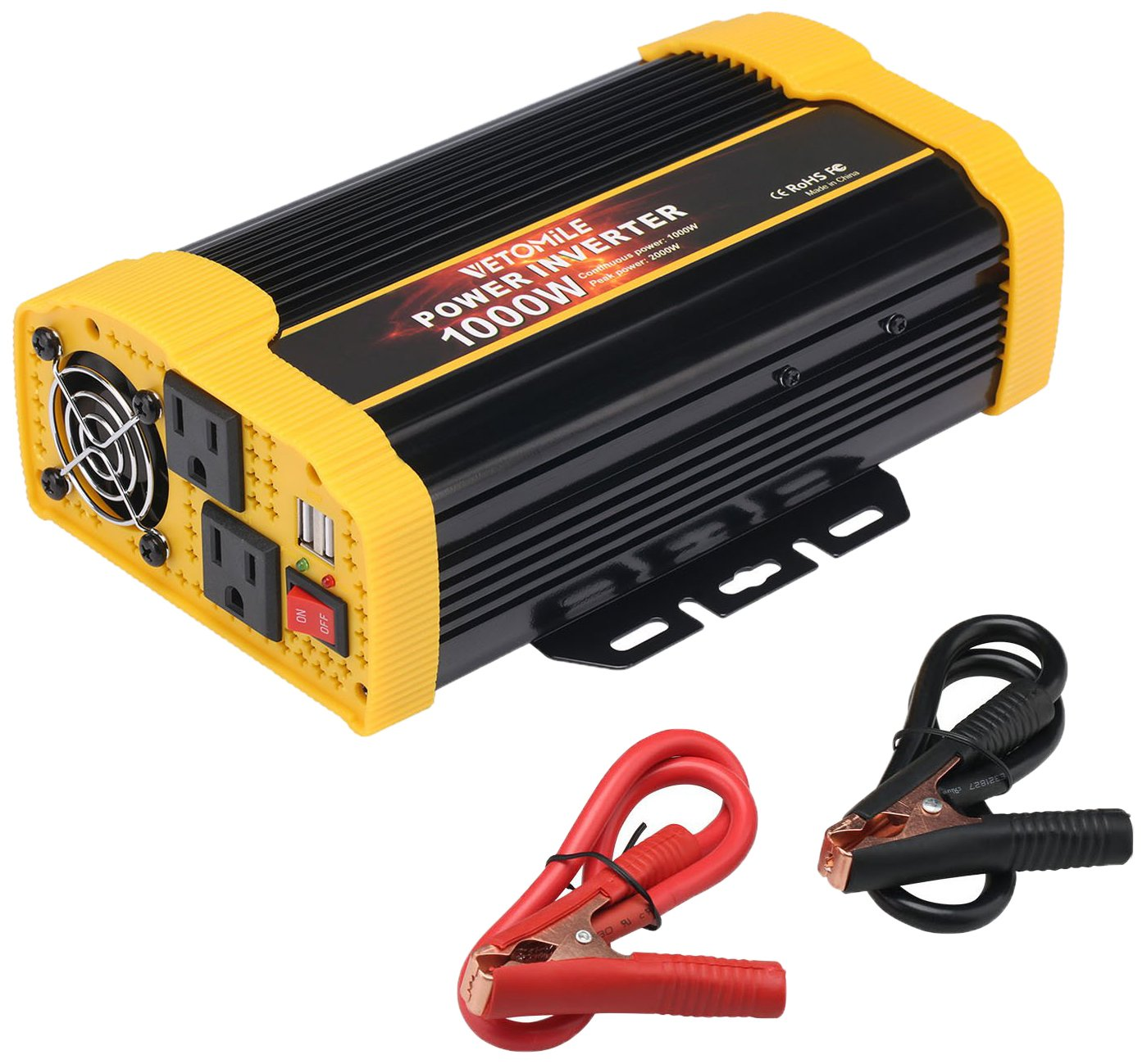 VETOMILE 1000W Power Inverter DC 12V to 110V AC Car Inverter with 2.1A Dual USB Car Adapter