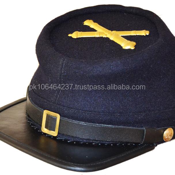 American Civil War US Artillery Enlisted Kepi Cap Hat /& Badge XLarge 60//61cms