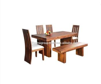 Walnut Color Six Sitter Wooden Dining Table Set With Bench Buy Six - Walnut color dining table
