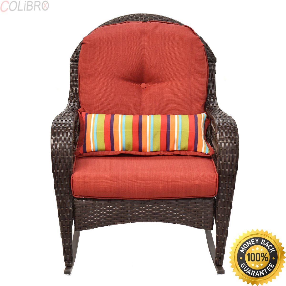 COLIBROX--Outdoor Wicker Rocking Chair Porch Deck Rocker Patio Furniture w/ Cushion New Diensday All-weather Wicker Chair.