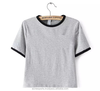 580714a8 ladies slim fit top crop t shirts - Loose Fit Short Sleeve Cropped T Shirt  Sexy