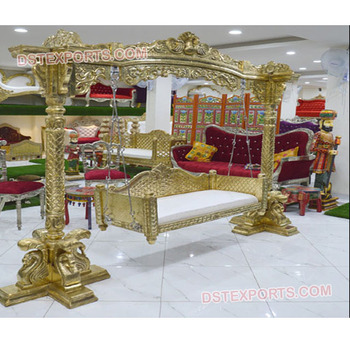 Marvelous Golden Look Wedding Swing Usa Mehndi Stage Decoration With Swing Mehndi Stage Metal Swing Set Buy Wooden Hand Carved Golden Jhula Flower Decoration Indian Swing Indian Wedding Swing Product On Alibaba Com