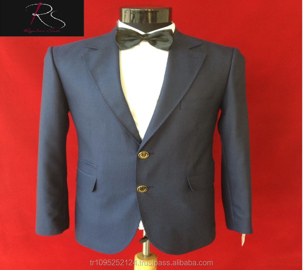 High Quality Patterned Dark Blue 2 Buttoned 2 Piece Man Suit