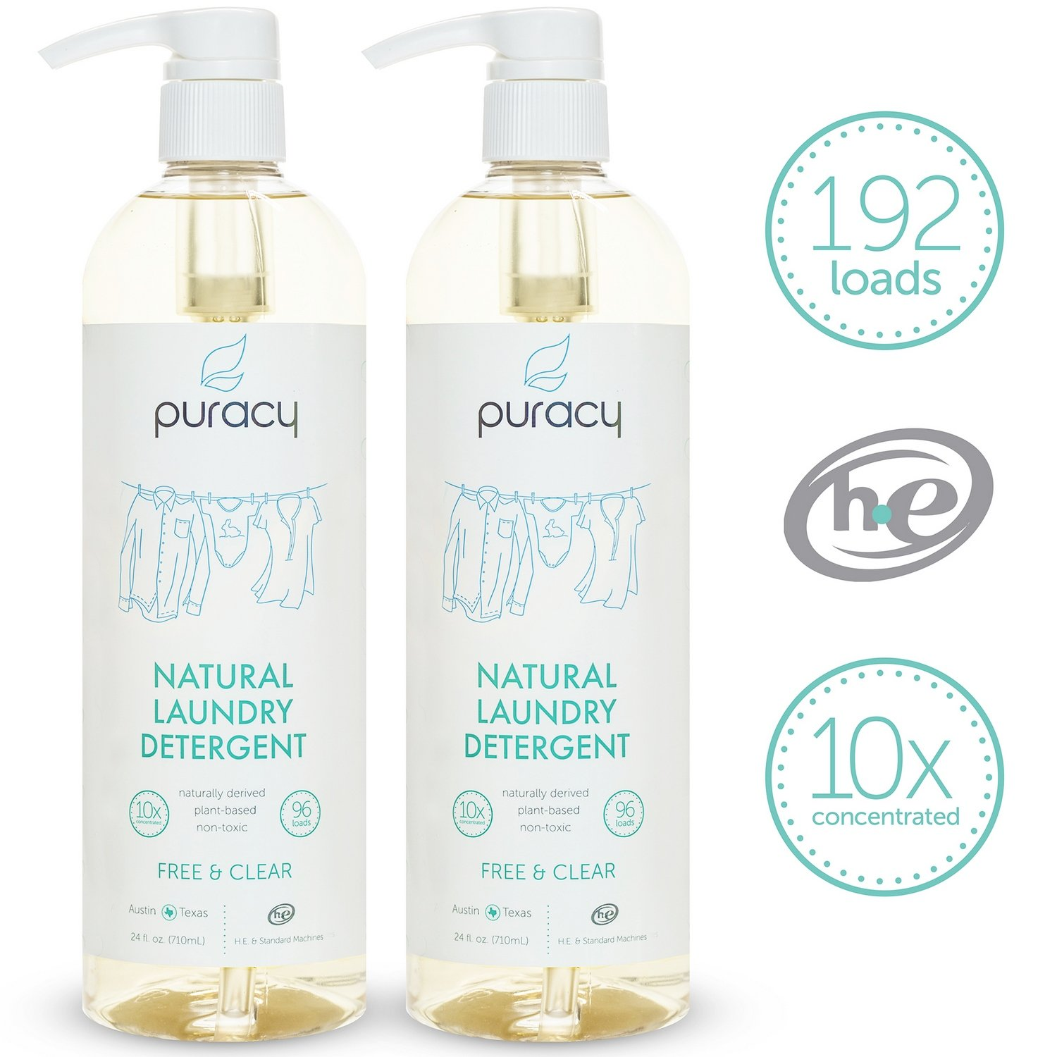 Get Quotations Puracy Natural Liquid Laundry Detergent Sulfate Free Enzyme Cleaner 192 Loads