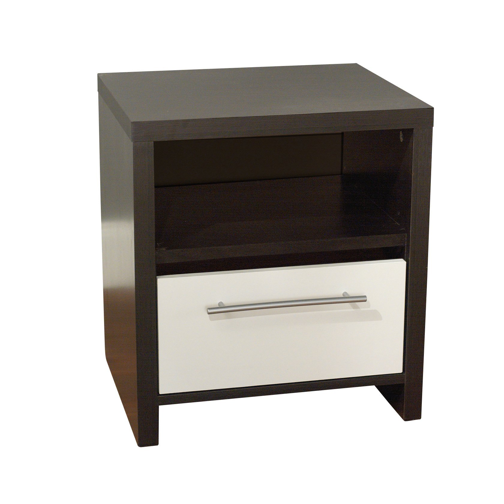 Target Marketing Systems Two-Toned Contemporary Nightstand with 1 Open Shelf and 1 Drawer, Espresso/White