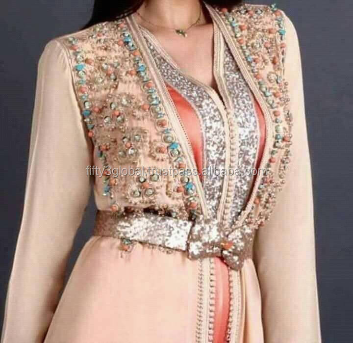 Moroccan Caftan Light Pink Color Caftan With Beauty Hand Work On It For Beautifull Girls