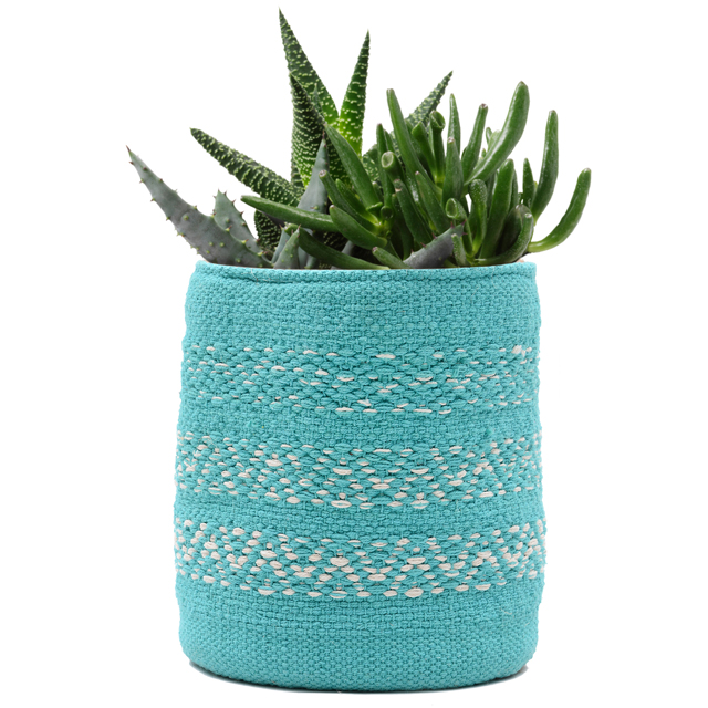 Sky blue gekleurde katoenen indoor decoratieve plant pot