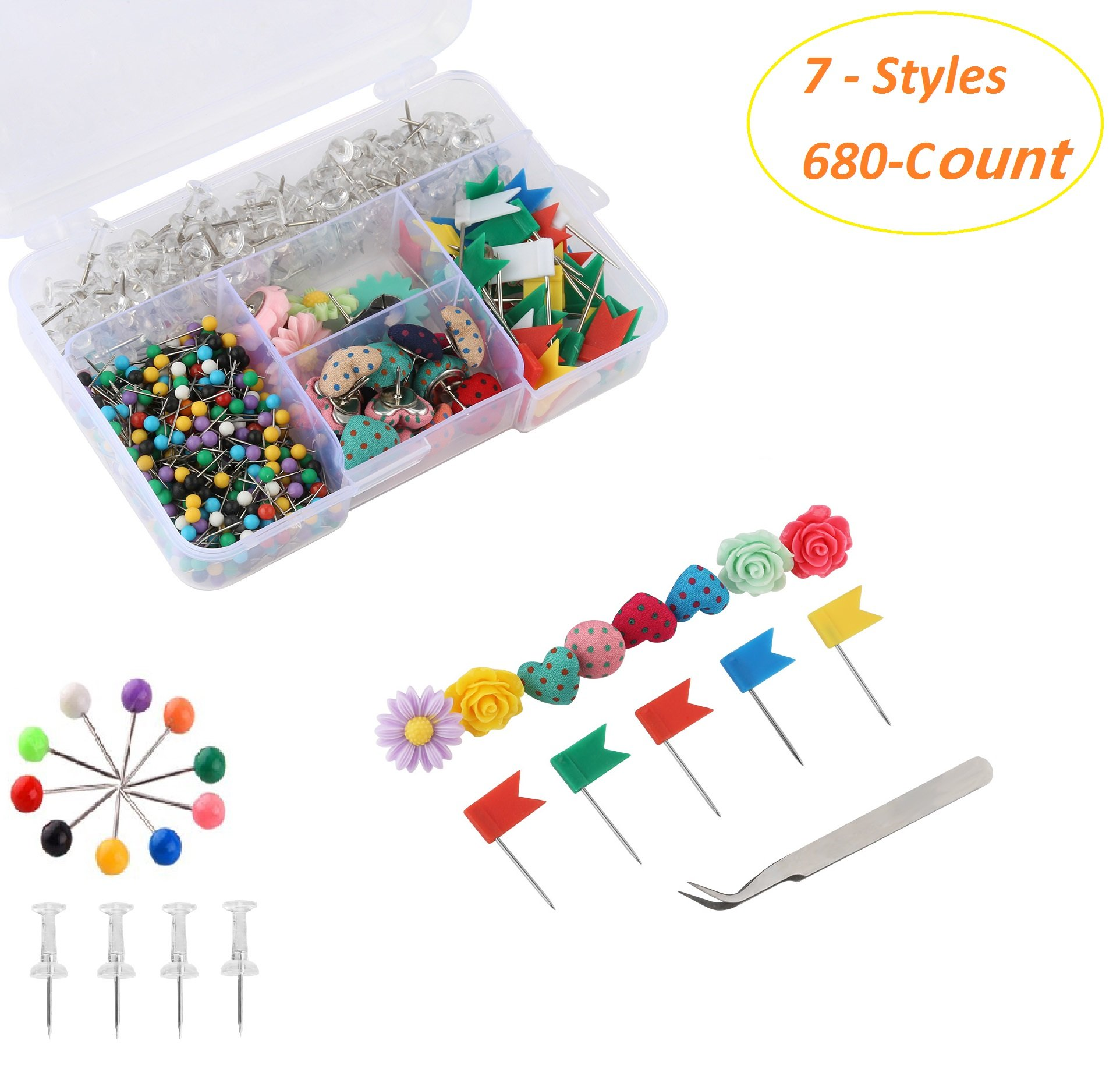 Office & School Supplies 80pcs Colorful Transparent Push Pins Clear Plastic Mini Thumb Tacks In Reusable Acrylic Box For Office Home Boards Decoration High Quality