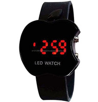 Apple Shape LED Watch wrist watch RED,YELLOW ,BLACK ,GREEN GIFT FOR BOYS