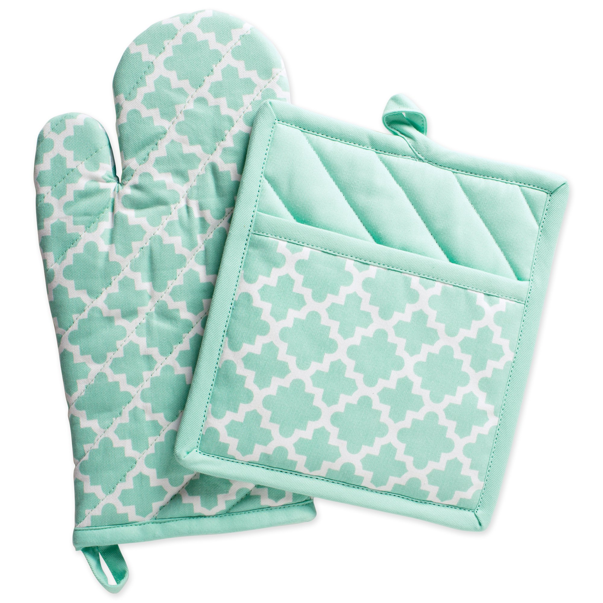 "DII Cotton Lattice Oven Mitt 13 x 7"" and  Pot Holder 9 x 8"" Kitchen Gift Set, Machine Washable and Heat Resistant for Cooking & Baking-Aqua"