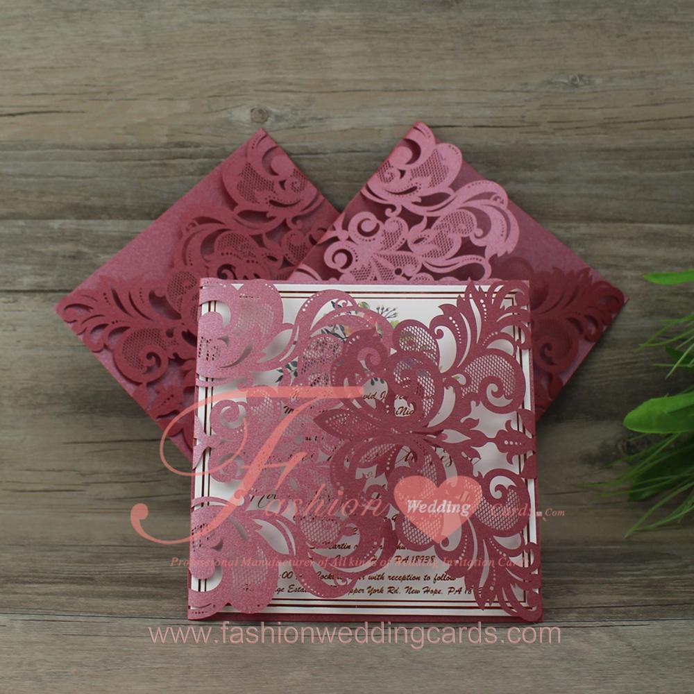 Luxury Royal Pink Butterfly Shape Scroll Wedding Invitations Card ...