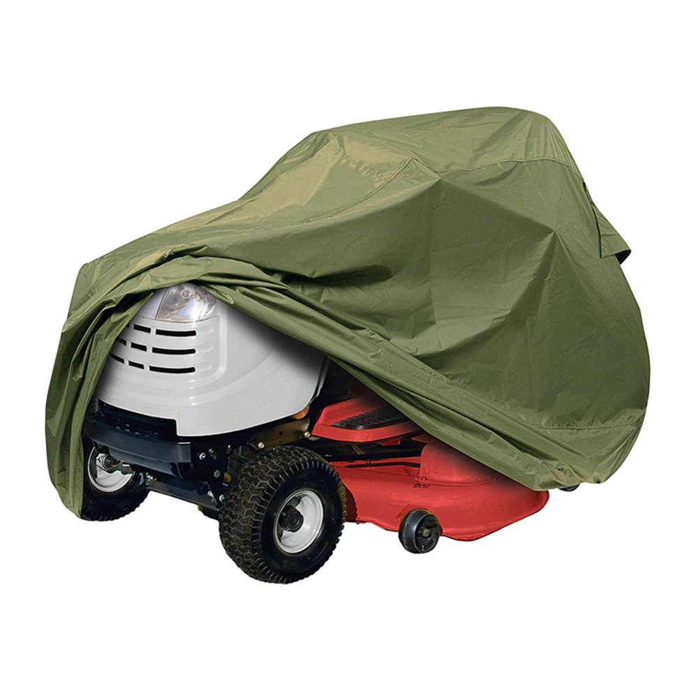 """Riding Lawn Tractor Mower Cover, Heavy Duty, Waterproof , Weather / UV / Mold Resistant Up to 54"""" Decks with Elastic Hem - Olive"""