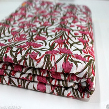 5 yards printed Fabric, Cotton Flower Print hand block print Fabric Red Leaf Des