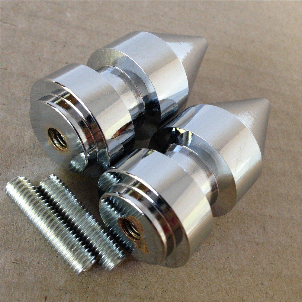 XKH- Chrome Spike Swingarm Spools No logo 6mm Thread For Yamaha FZ-1 (FZS10V) 2004-2013/ FZ6 2004-2008/ FZ8 2011-2012/ FZS1000 FZ1 2004-2008/ FZS600 FZ6 2005-2008