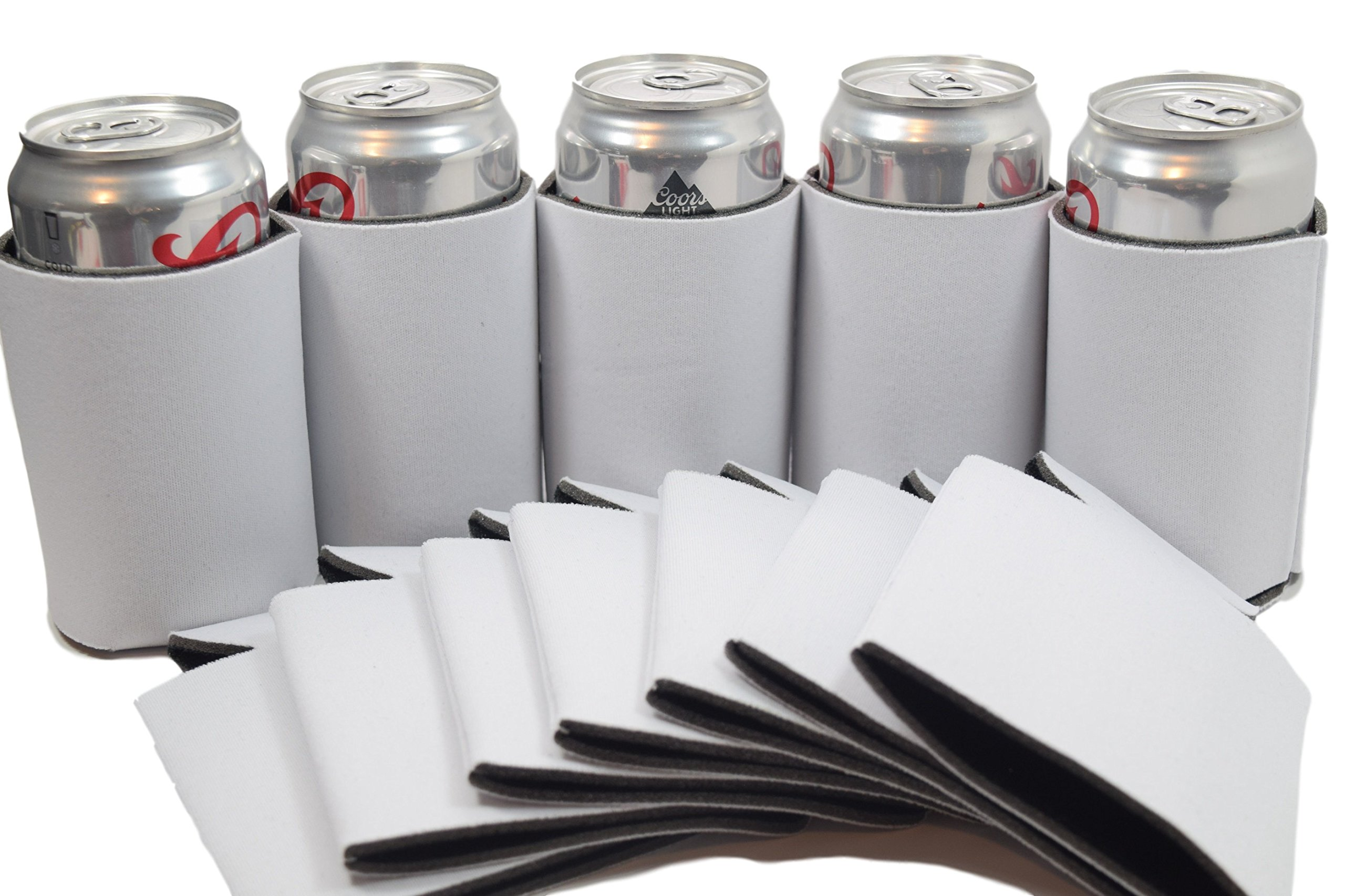 Quality&Perfection 12 White Blank Can Cooler Sleeve,Coozie For Can,Beer,Soft Drink,Economy Bulk,Collapsible Insulator,Good 4 Wedding,Parties(12, White)