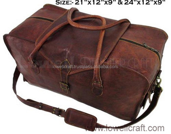 a42ee9acf25a Bag Leather Carry Suitcase Luggage Travel Duffle Overnight Men Genuine Tote  Gym Black S Brown Case