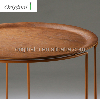 Modern Design Walnut Ash Wooden Metal Frame Base Round Bed Sofa End Side Table