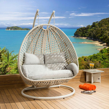Wicker Rattan Double Swing Hanging Chair Power Coated High Quality Steel  Frame Outdoor Furniture Egg Swing