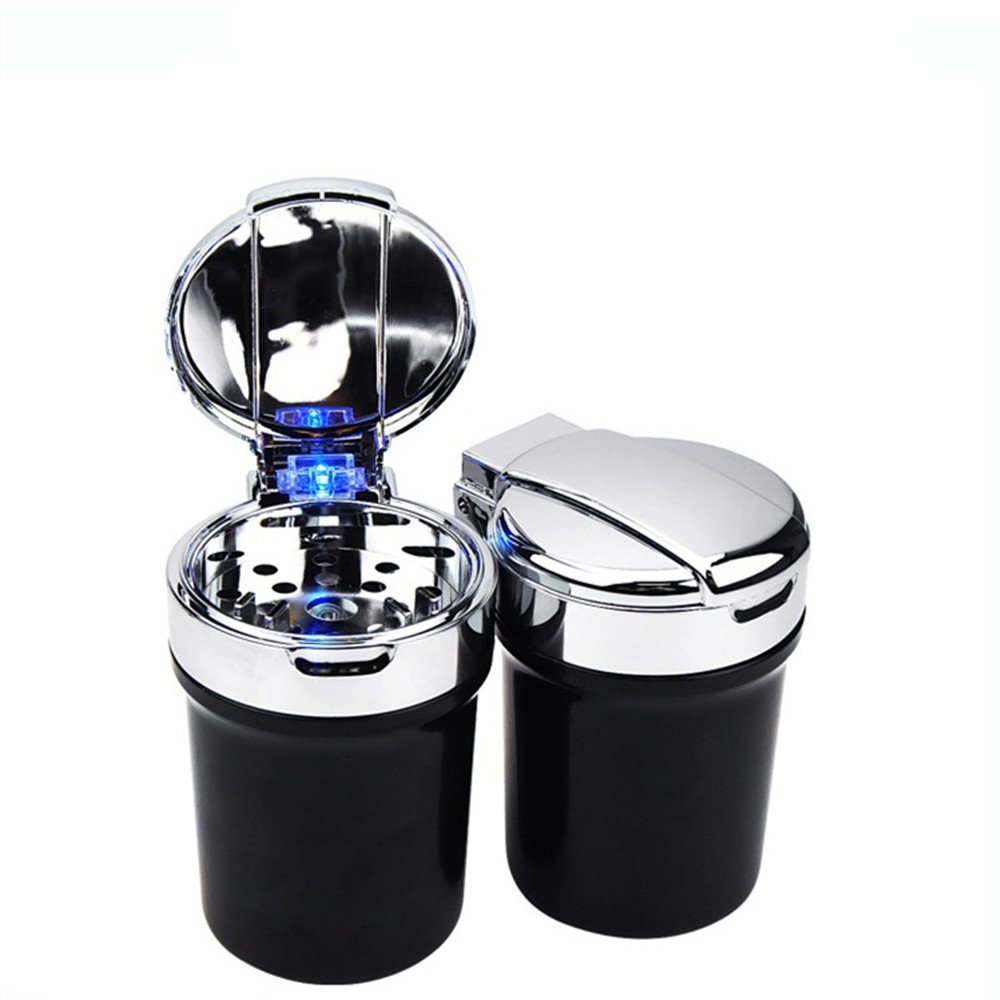 YiFeng Stainless Steel Car Ashtray, LED Light Cigarette Ashtray Cup For Suitable for All Car Cup Holder